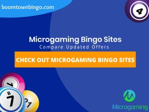 """A Blue background with a white circle with 50% opacity covering half of the background. A blue oval can be seen in the top left with """"boomtownbingo.com"""" inside of it. Two lines of text in white writing are displayed in the middle, with an orange box with one line of white text within it. 3 Bingo balls can be seen in the bottom left. In the opposite corner, a Bingo ball can be seen (top right). Also, in the bottom right, the Microgaming logo can be seen."""