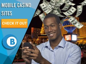 "Background of Las Vegas with man on phone and money raining. Blue/white square to left with text ""Mobile Casino Sites"", CTA below and BoomtownBingo logo beneath that."