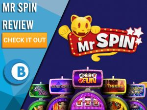 """Purple background with slot machines and Mr Spin Logo. Blue/white square to left with text """"Mr Spin Review"""", CTA below and Boomtown Bingo logo."""