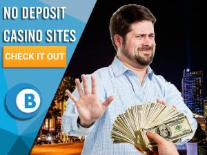 "Man in las vegas holding hands up in disgust to money. Blue/white square to left with text ""No Deposit Casino Sites"", CTA below and BoomtownBingo logo under that."