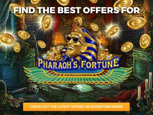 Background of underground treasure room. Money coming from the top of the image and falling past the logo for Pharaoh's Fortune, which sits in the centre.