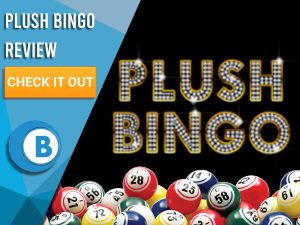 "Black background with Bingo Balls and Plush Bingo logo. Blue/white square to left with text ""Plush Bingo Review"", CTA below and Boomtown Bingo logo."