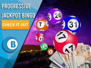 """Background of Space with Bingo Balls with a stack of cash located below. Left is blue/white square with """"Progressive Jackpot Bingo Sites"""", CTA beneath it and BoomtownBingo below that."""