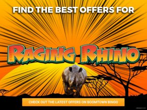 Background is African safari. With the sun rising, a Rhino can be seen charging at the camera with the logo for Raging Rhino appearing over it.