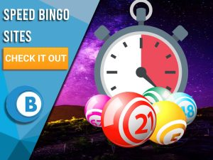 "Background of Space with Bingo Balls with a timer located above. Left is blue/white square with ""Speed Bingo Sites"", CTA beneath it and BoomtownBingo below that."