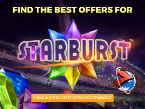 A background made up of a majority of black, with pink, purple and yellow sprinkles around the bottom to create the effect of a galaxy. A line of text appears at the top middle of the image, with the Starburst logo in the centre of the image. An orange CTA button is seen at the bottom with text on top of it. 3 different colour gems (blue, green, purple) can be seen in the bottom left, with a 7 with a blue ball is seen near the bottom right.