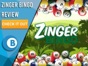 """Background of forest with bingo balls and Zinger Bingo logo. Blue/white square with text to left """"Zinger Bingo Review"""", CTA below and Boomtown Bingo logo beneath."""