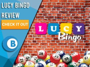 """Brick wall background with bingo balls and Lucy Bingo logo. Blue/white square to left with text """"Lucy Bingo Review"""", CTA below and Boomtown Bingo logo."""