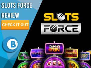 """Black Background with slot machines and Slots Force logo. Blue/white square to left with text """"Slots Force Review"""", CTA and Boomtown Bingo logo."""