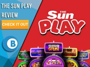 "Red Background with slot machines and The Sun Play logo. Blue/white square to left with text ""The Sun Play Review"", CTA and Boomtown Bingo logo."