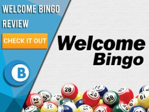 """White background with bingo balls and Welcome Bingo logo. Blue/white square to left with text """"Welcome Bingo Review"""", CTA below and Boomtown Bingo logo underneath that."""
