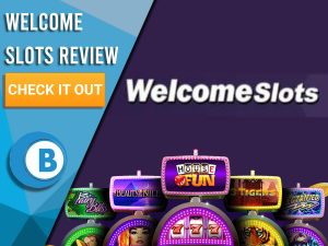 "Dark Blue Background with slot machines and Welcome Slots logo. Blue/white square to left with text ""Welcome Slots Review"", CTA and Boomtown Bingo logo."