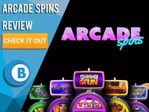 "Black background with slot machines and Arcade Spins logo. Blue/white square to left with text ""Arcade Spins Review"", CTA below and Boomtown Bingo logo."