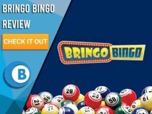 "Navy background with bingo balls and Bringo Bingo logo. Blue/white square to left with text ""Bringo Bingo Review"", CTA below and Boomtown Bingo logo."
