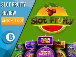 """Green Background with slot machines and Slot Fruity logo. Blue/white square to left with text """"Slot Fruity Review"""", CTA and Boomtown Bingo logo."""