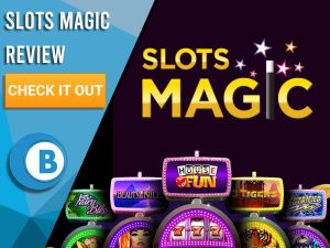 "Black Background with slot machines and Slots Magic logo. Blue/white square to left with text ""Slots Magic Review"", CTA and Boomtown Bingo logo."