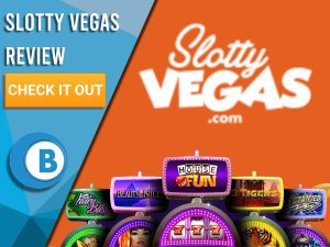 """Orange Background with slot machines and Slotty Vegas logo. Blue/white square to left with text """"Slotty Vegas Review"""", CTA and Boomtown Bingo logo."""