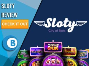 """Blue Background with slot machines and Sloty logo. Blue/white square to left with text """"Sloty Review"""", CTA and Boomtown Bingo logo."""