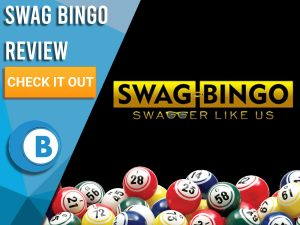 "Black background with bingo balls and Swag Bingo logo. Blue/white square with text to left ""Swag Bingo Review"", CTA below and Boomtown Bingo logo."