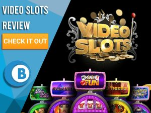 """Black Background with slot machines and Video Slots logo. Blue/white square to left with text """"Video Slots Review"""", CTA and Boomtown Bingo logo."""