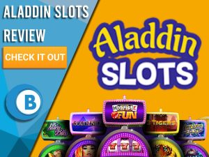"Orange background with slot machines and Aladdin slots logo. Blue/white square to left with text ""Aladdin Slots Review"", CTA below and Boomtown Bingo logo."