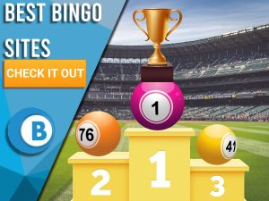 "Background of stadium with podiums and bingo balls, with number one holding trophy. Blue/white square with text to left ""Best Bingo Sites"", CTA below and BoomtownBingo logo under that."