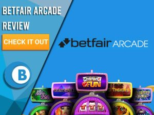 "Blue background with slot machines and Betfair Arcade logo. Blue/white square to left with text ""Betfair Arcade Review"", CTA below and Boomtown Bingo logo."