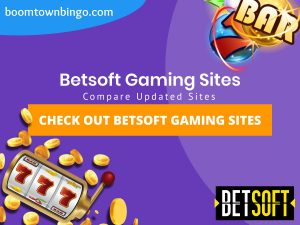 "A purple background with a white circle with 50% opacity covering half of the background. A blue oval can be seen in the top left with ""boomtownbingo.com"" inside of it. Two lines of text in white writing are displayed in the middle, with an orange box with one line of white text within it. A slot machine can be seen in the bottom left, dispensing coins around the corner. In the opposite corner, a bunch of slot signs can be seen (top right). Also, in the bottom right, the Betsoft logo can be seen."