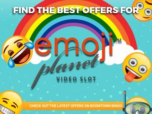 """A turquoise background is seen with a cartoon rainbow in the middle. The logo for """"Emoji Planet video slots"""" can be seen under the rainbow. Around the image, a variety of emojies can be seen scattered around the page. A sentence can be seen at the top of the page, with a CTA being positioned at the bottom."""