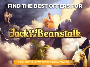 """A castle is seen in the clouds with the title in the centre """"Jack and the Beanstalk"""" logo can be seen. At the bottom of the screen, a CTA is shown with a sentence in it. A goat can be seen in the bottom right and a chicken on top of the logo."""