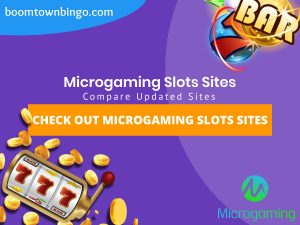 """A purple background with a white circle with 50% opacity covering half of the background. A blue oval can be seen in the top left with """"boomtownbingo.com"""" inside of it. Two lines of text in white writing are displayed in the middle, with an orange box with one line of white text within it. A slot machine can be seen in the bottom left, dispensing coins around the corner. In the opposite corner, a bunch of slot signs can be seen (top right). Also, in the bottom right, the Jumpman Gaming logo can be seen."""