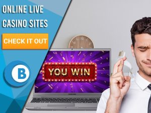 """Background of office with man crossing fingers and Laptop saying you win. Blue/white square with text to left """"Online Live Casino Sites"""", CTA below and BoomtownBingo logo under that."""