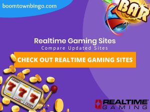 "A purple background with a white circle with 50% opacity covering half of the background. A blue oval can be seen in the top left with ""boomtownbingo.com"" inside of it. Two lines of text in white writing are displayed in the middle, with an orange box with one line of white text within it. A slot machine can be seen in the bottom left, dispensing coins around the corner. In the opposite corner, a bunch of slot signs can be seen (top right). Also, in the bottom right, the Realtime Gaming logo can be seen."