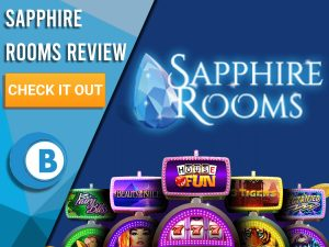 """Blue background with slot machines and Sapphire Rooms logo. Blue/white square to left with text """"Sapphire Rooms Review"""", CTA below and Boomtown Bingo logo."""