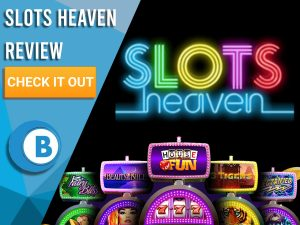 """Black Background with slot machines and Slots Heaven logo. Blue/white square to left with text """"Slots Heaven Review"""", CTA and Boomtown Bingo logo."""