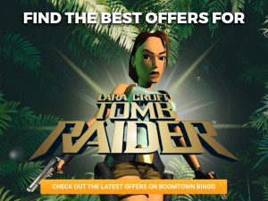 Background of forest can be seen, with sunlight breaking through the trees. Lara Croft is seen in front of the sunlight with the logo for Tomb Raider Slots in front of her.