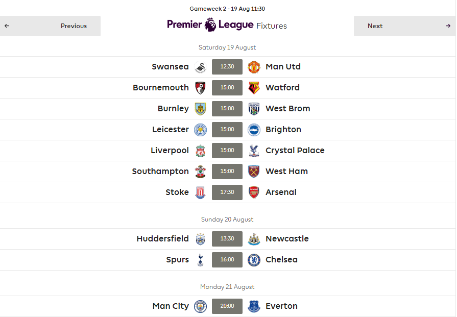 Fantasy Football Game Week 2Fixtures