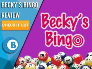 """Purple background with bingo balls and Becky's Bingo logo. Blue/white square to left with text """"Becky's Bingo Review"""", CTA below and Boomtown Bingo logo."""