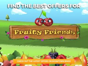 Background of hills. A bunch of fruit is piled up at the bottom of the image. In the centre of the image, the logo for Fruity Friends Slots can be seen, with a cherry on top of it.