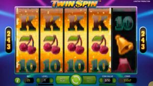 Twin Spin Slot Game Four reels sync up and spin together mega win payout