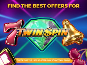The background is made up of a mixture of blue, green and pink. Light beams are also visible, showing pink, blue and green colours. The logo for Twin spin can be seen with text above and a CTA at the bottom.