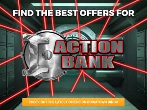 A Background of a bank vault, with security lasers pointing in different locations. The Logo for Action Bank slots can be seen in the middle of the image.