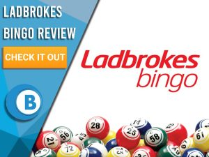 "White background with bingo balls and Ladbrokes Bingo logo. Blue/white square to left with text ""Ladbrokes Bingo Review"", CTA below and Boomtown Bingo logo."