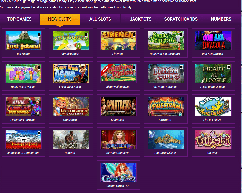 Ladbrokes Bingo Games