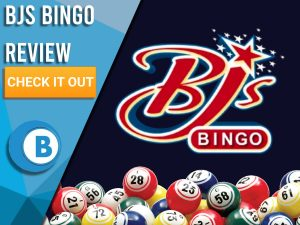 "Black background with BJs Bingo logo and Bingo Balls. Blue/white square to left with text ""BJs Bingo Review"", CTA below and Boomtown Bingo logo."