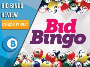 "White and grey background with bingo balls border with Bid Bingo logo. Blue/white square with text to left ""Bid Bingo Review"", CTA below and Boomtown Bingo logo under that."