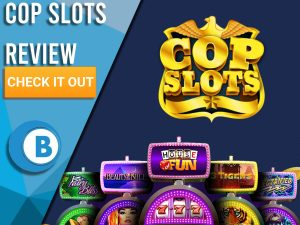 "Navy Blue background with slot machines and Cop Slots Logo. Blue/white square to left with text ""Cop Slots Review"", CTA below and Boomtown Bingo logo."