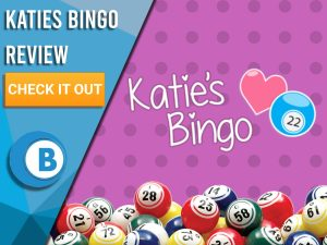 "Purple background with polka dots, bingo balls and Katie's Bingo logo. Blue/white square to left with text ""Katies Bingo Review"", CTA below and Boomtown Bingo logo."