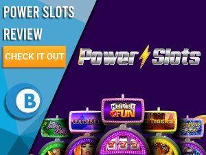 "Blue background with slot machines and power slots logo. Blue/white square to left with text ""Power Slots Review"", CTA below and Boomtown Bingo logo."