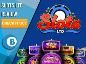 "Blue Background with slot machines and Slots LTD logo. Blue/white square to left with text ""Slots LTD Review"", CTA and Boomtown Bingo logo."